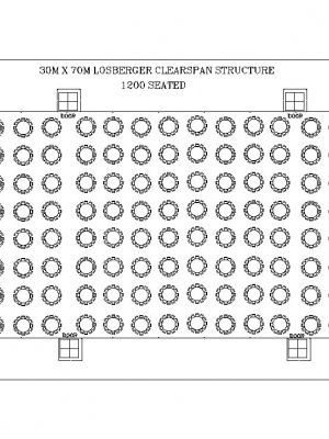 30m x 70m Losberger Clearspan Structure Seating 1200