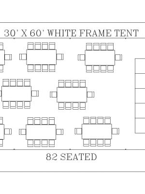 30' x 60' White Frame Tent Seating 82