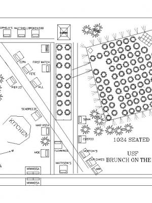 Event Layout for USF's Brunch on the Bay Seating 1024